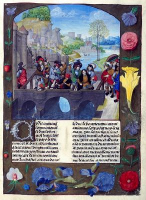 Assassinat Jean sans Peur. Enguerrand de Monstrelet, Chronique de France (1485-1500). Leyde, Bibliothèque de l'Université, ms. VGG F 2, fol. 184r.